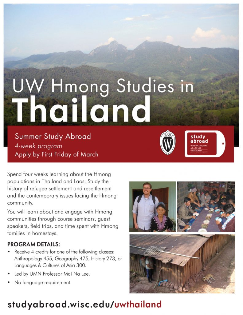 Flyer UW Hmong Studies in Thailand 2018-19